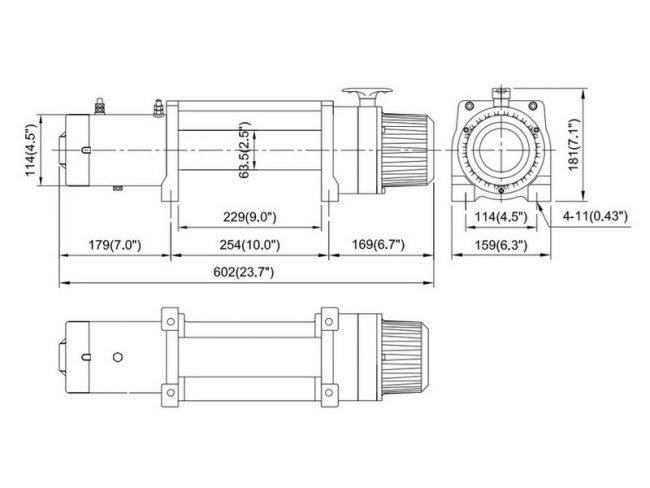 Лебедка электрическая ComeUp DV-9, размеры