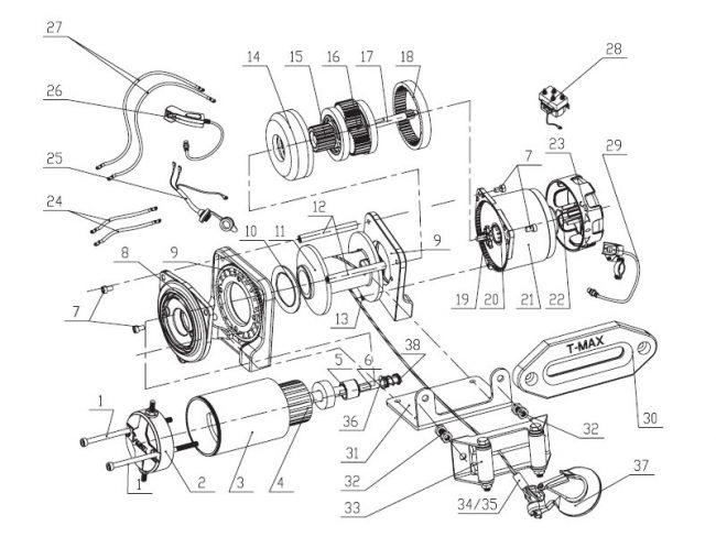 Схема запчастей электрической лебедки T-MAX ATW PRO 2500