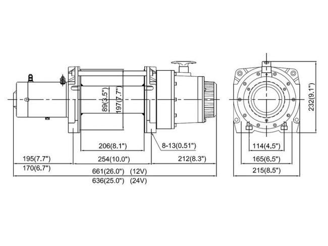 Лебедка ComeUp DV-12-15-18, размеры