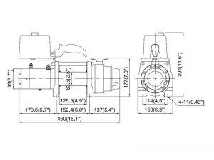 Лебедка электрическая автомобильная ComeUp DV-6S, размеры
