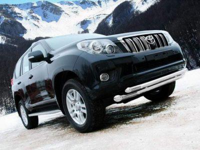 Защита переднего спойлера двойная для Toyota Land Cruiser 150 Prado