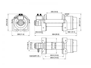 Лебедка гидравлическая ComeUp HV-12, размеры