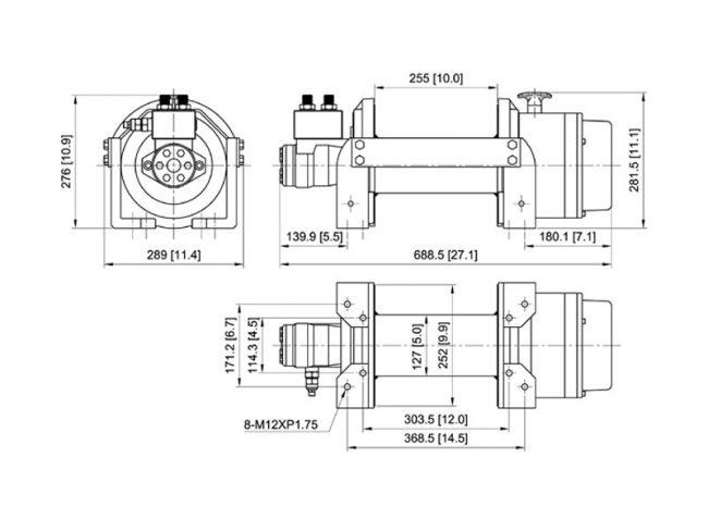 Лебедка гидравлическая ComeUp HV-15, размеры