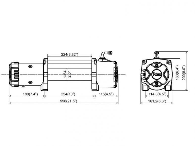 Лебедка T-max HEW-8500 X Power размеры